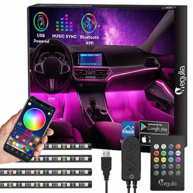 car interior lights with bluetooth app control,  4pc underdash lighting kits with remote, usb rgb led strip lights for cars trucks with 16 million colors, sync to music, timer and universal fit