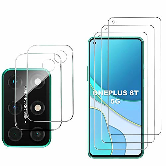 for oneplus 8t 5g screen protector and camera protector, [3 screen protectors+2 camera protectors][touch sensitive] tempered glass screen protector for oneplus 8t 5g(clear)