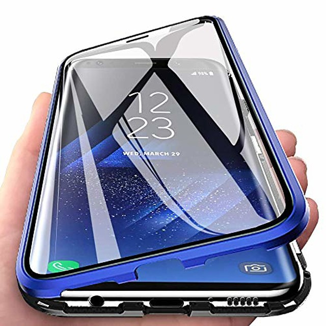 compatible for xiaomi redmi note 8 pro case magnetic adsorption ultra thin 360 degrees fully screen protective case metal aluminum frame transparent front and back tempered glass cover