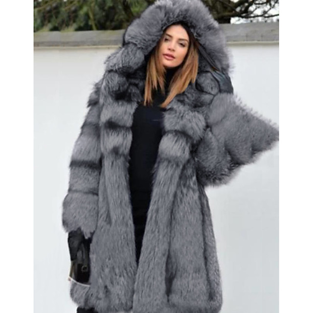 Long Sleeve Coats Jackets Faux Fur Wedding Special Occasion Women's Wrap With Cap Fur