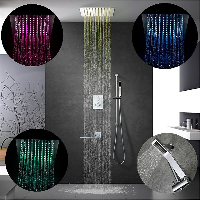 12 Inch Chrome / 64-Color LED Shower Faucets Sets Complete with Stainless Steel Shower Head and Solid Brass Handshower Ceiling Mounted Rain Mode / Jet Mode / Rainfall Shower Head System