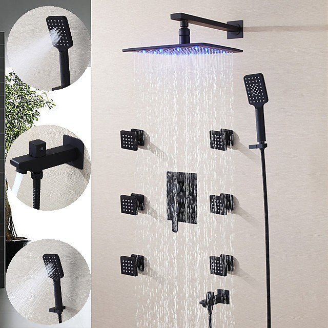 250*250 Matte Black Shower Faucet Sets Complete with 3 Function Handshower, 6 Massage Body Jet, Wall Mounted Spray Rainfall Shower Head System Contain Shower Faucet Rough-in Valve Body and Trim
