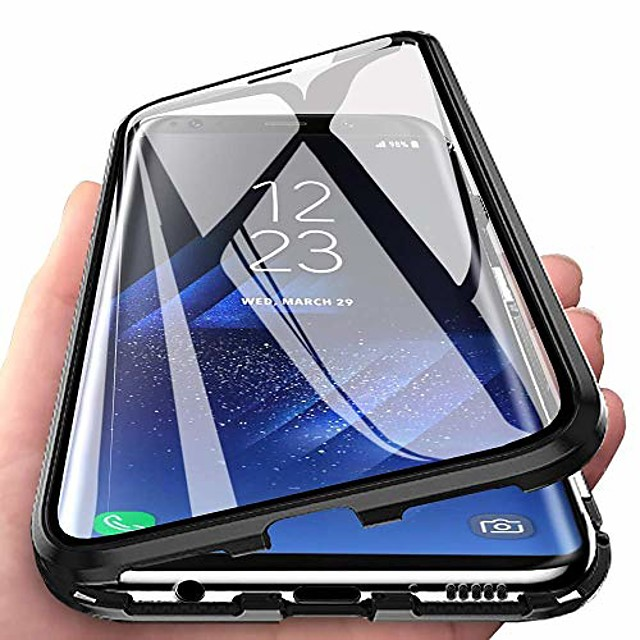 compatible for xiaomi redmi note 7 pro case magnetic adsorption ultra thin 360 degrees fully screen protective case metal aluminum frame transparent front and back tempered glass cover