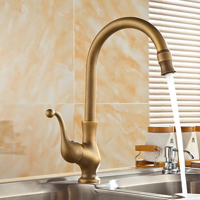 アンティーク真鍮キッチン蛇口、シングルハンドル1穴標準スパウトセンターセット現代的な回転可能なキッチンタップ、コールドスイッチとホットスイッチ