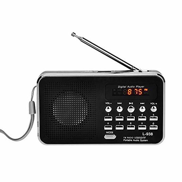 czyco portable fm/am radio digital mini speaker music mp3 player aux usb tf with led light(black)