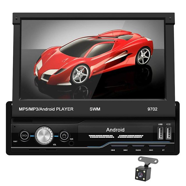 SWM 9702+4Led camera 7 inch 1 DIN Android 8.1 In-Dash Car DVD Player / Car MP5 Player / Car MP4 Player Touch Screen / GPS / Built-in Bluetooth for universal RCA / HDMI / FM2 Support MPEG / MPG / WMV