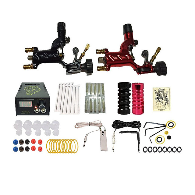 Starter Tattoo Machine Kit - 2 pcs Tattoo Machines  Professional Safety 20 Colors Alloy LCD power supply Case 2 rotary machine liner & shader
