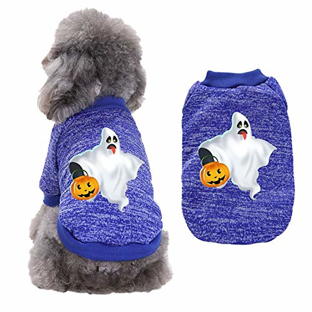 pet dog clothes soft thickening warm pup dogs shirt winter warm puppy clothing cute halloween pumpkin print dog sweatshirt pullover tops pet fall sweaters for kitten puppies apparel