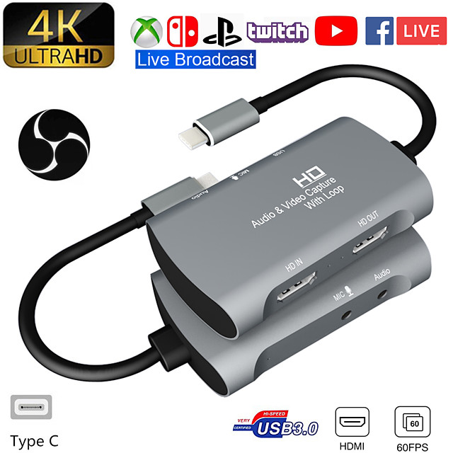 Tarjeta De Captura De Vdeo USB 1080 a HDMI Dual 4K P 60fps PS4 XBOX Game Audio En Vivo Youtube Transmisin En Facebook