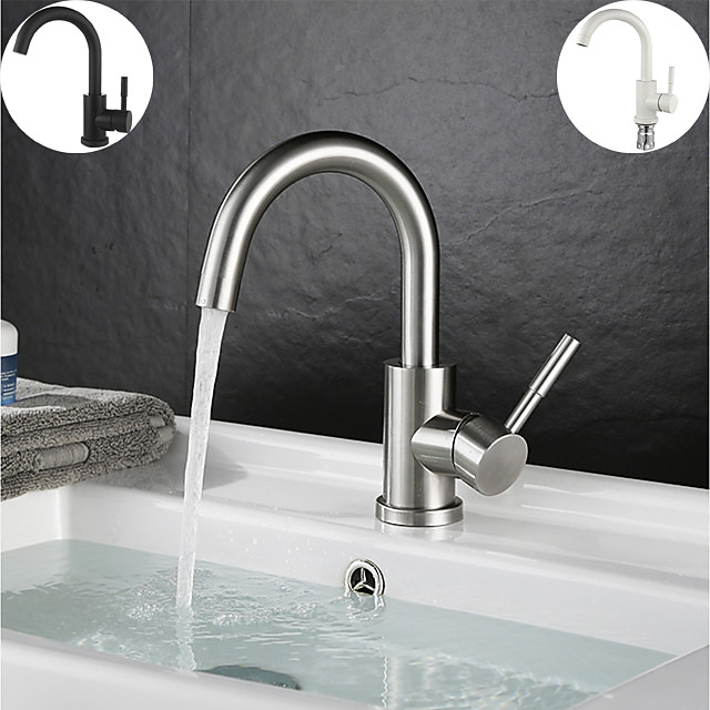 Single Handle Bathroom Faucet,Black Nickel/White Dainted/Brushed Nickel One Hole StandardSpout Stainless Steel Bathroom Sink Faucet with Hot and Cold Water
