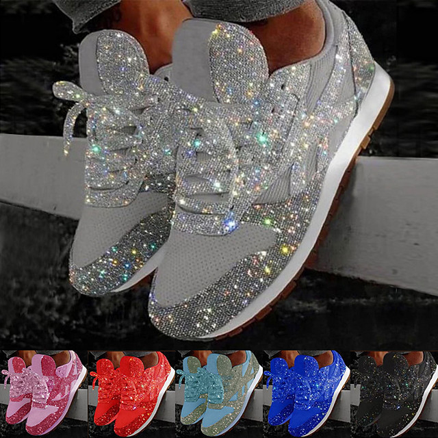 Women's Trainers Athletic Shoes Sneakers Sequins Bling Bling Sneakers Silver Flat Heel Round Toe Sporty Casual Daily Outdoor Tennis Shoes Walking Shoes Mesh Sequin Color Block Solid Colored Black Red
