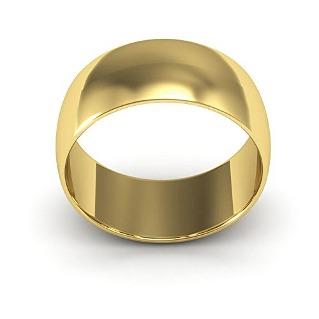 10k yellow gold men's and women's plain wedding bands 8mm light half round, 6.5