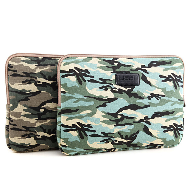 LITBest 11.6 Inch Laptop / 12 Inch Laptop / 13.3 Inch Laptop Sleeve Canvas Camo / Camouflage / Printing for Men for Women for Business Office Shock Proof