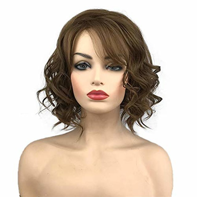 short wavy wig medium golden brown hair heat resistant full synthetic wigs with irregular part women's hair