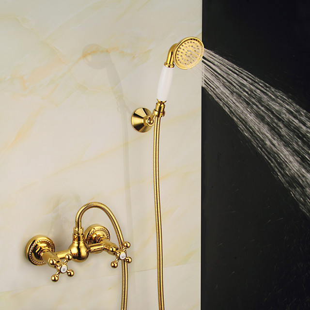 Brass Shower Faucet Set,Vintage Style Mount Outside Shower Faucet Taps with Rain Shower/Handshower and Hot/Cold Water