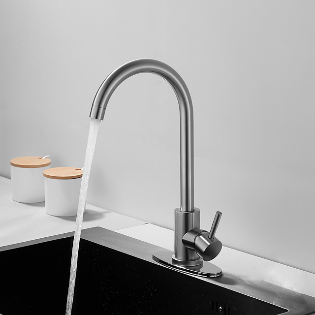 Stainless Steel Deck MountedKitchen Faucet,Nickel Brushed Multi-function Rotatable Kitchen Faucet with Hot and Cold Switch