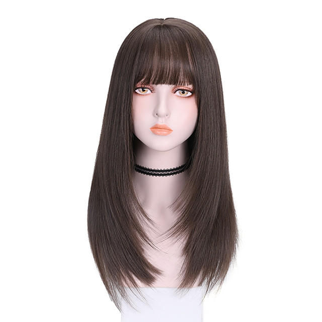 Synthetic Wig Straight With Bangs Wig Medium Length Dark Brown Brown Black Synthetic Hair 16 inch Women's Comfy Fluffy Black Brown