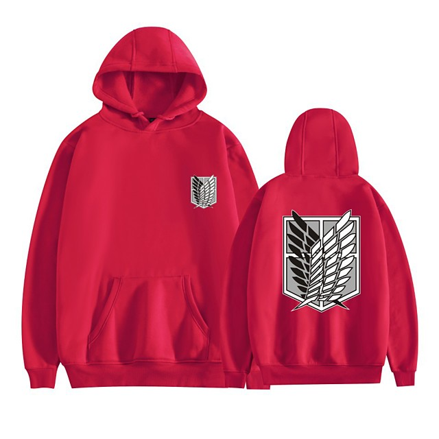 Inspired by Attack on Titan Mikasa Ackermann Cosplay Costume Hoodie Polyester / Cotton Blend Graphic Printing Harajuku Graphic Hoodie For Women's / Men's