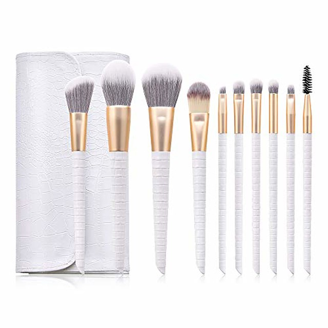 leatherwear 10pcs professional makeup brushes set tools soft premium synthetic hairs wood handle cosmetics face foundation powder highlight blush blending eyebrow concealers eyeshadow kit bag(white)
