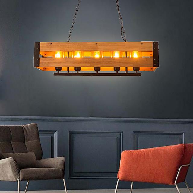 80 cm Island Light Pendant Light Wood Mental Vintage Style 110-120V 220-240V