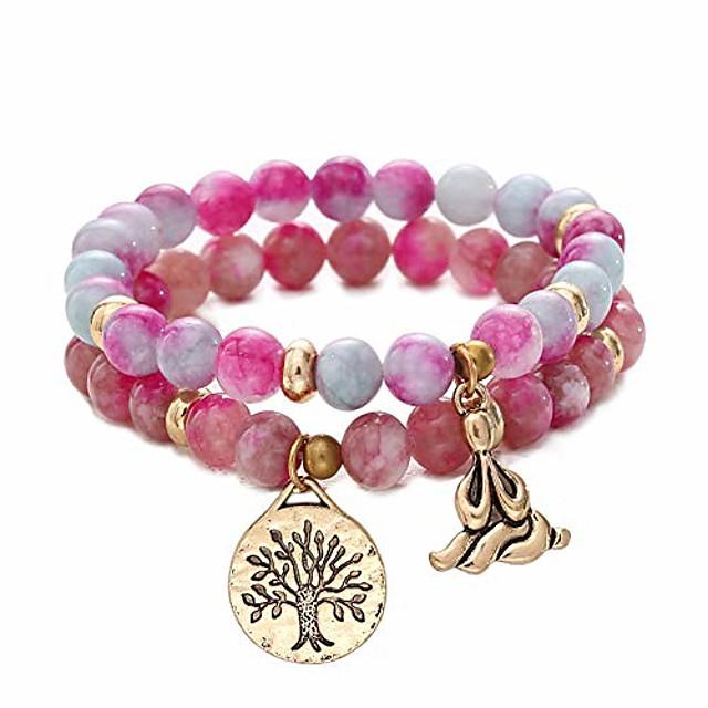 natural gemstone healing yoga beaded bracelets for women tree of life chakra bracelet jasper & tibetan agate-purple