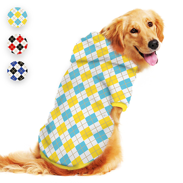 Dog Hoodie Printed Classic Cute British Casual / Daily Dog Clothes Puppy Clothes Dog Outfits Breathable Yellow Red Blue Costume for Girl and Boy Dog Polyster S M L XL