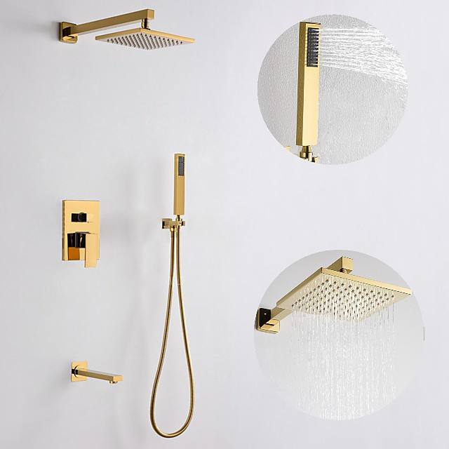 200*200 Gold Shower Faucets Sets Complete with Stainless Steel Shower Head, Solid Brass Handshower, and Rotary Nozzle Wall Mounted Installation Rainfall Shower Head System