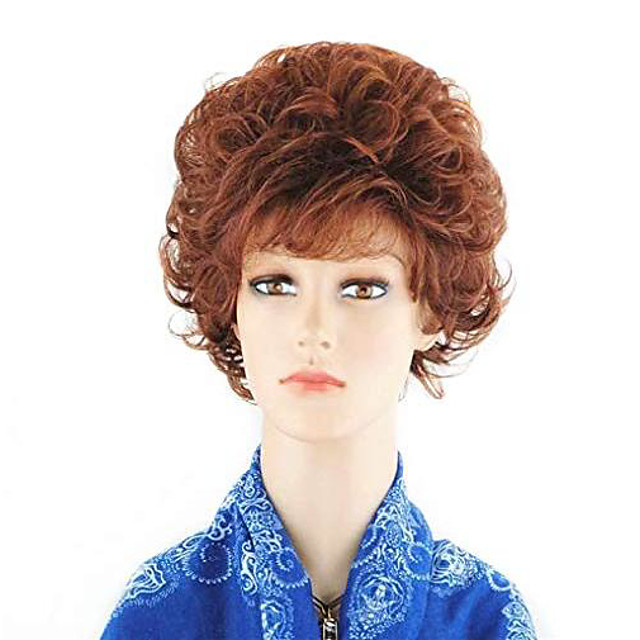short curly wavy auburn red office lady wigs for women synthetic wig with bang for cosplay costume party