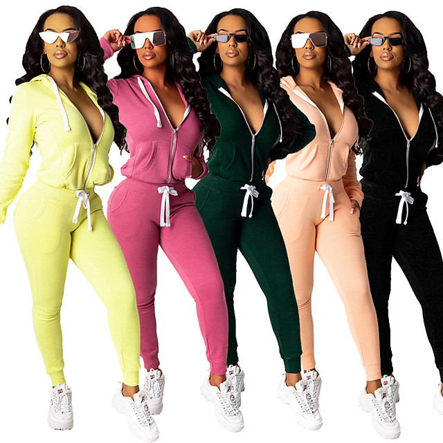 Women's 2 Piece Full Zip Tracksuit Sweatsuit Street Casual 2pcs Long Sleeve Lightweight Breathable Soft Gym Workout Running Active Training Jogging Exercise Sportswear Solid Colored Black Yellow Dark