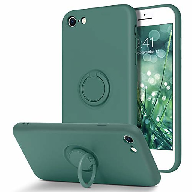 iphone se 2020 case iphone 8 case iphone 7 case slim silicone soft gel rubber microfiber lining cushion protective cover with 360° ring holder kickstand (support car mount), midnight green