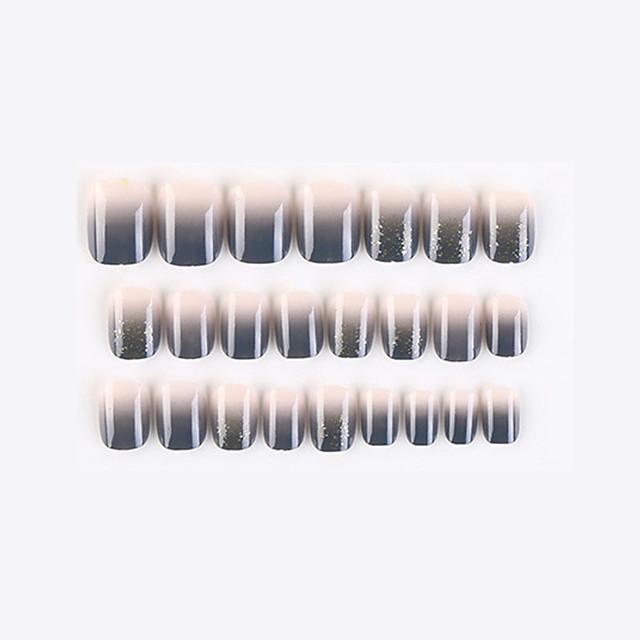 24 Pcs Grey Powder New Geometric Series Fake Nails Finished Nail Art Patch Fake Nail Wearing Nail Art Nail Patch Color Nail Patch