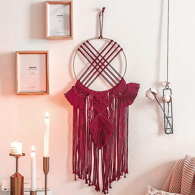 Hand Woven Macrame Dreamcatcher Bohemian Boho Art Decor Hanging Home Bedroom Living Room Decoration Nordic Handmade Tassel Cotton Red