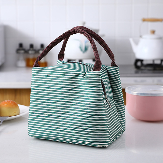 Unisex Bags Oxford Cloth Lunch Bag Top Handle Bag Zipper Stripes Daily 2021 Handbags Black Red Green Royal Blue