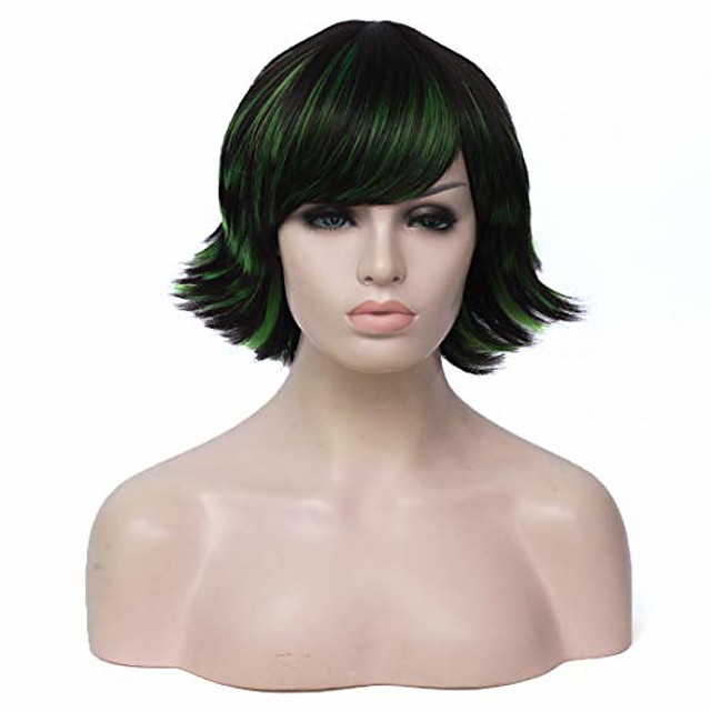 short back fluffy wig black mixed green color cosplay halloween costume wig include wig cap(black mixed green)