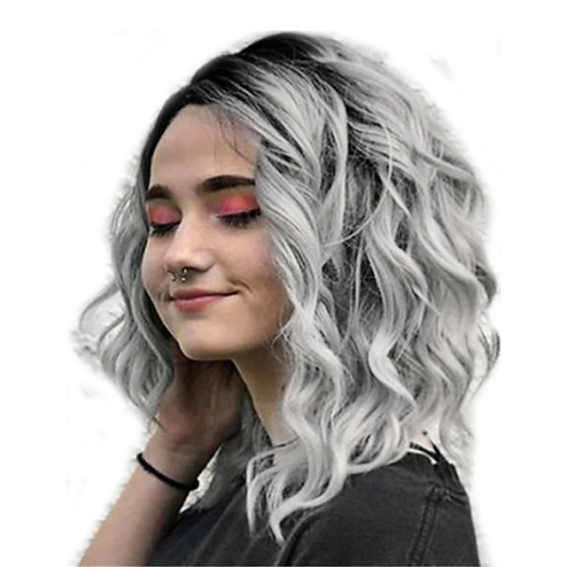 women full wigs, lady natural mix colors gray gradient short curly hair synthetic wig high temperature silk wigs (gray)