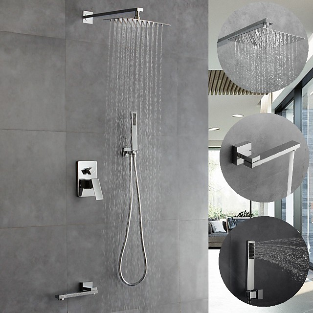 8 Inch Chrome Shower Faucets Sets Complete with Stainless Steel Shower Head, Solid Brass Handshower and Rotary Nozzle Wall Mounted Rainfall Shower Head System