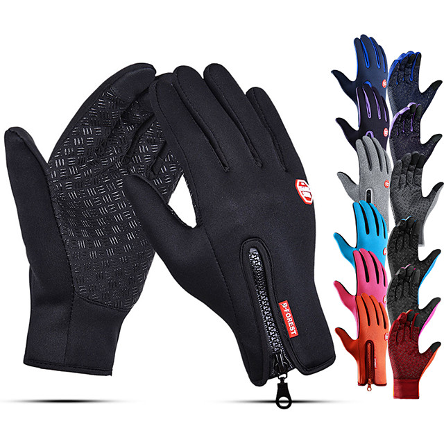 Winter Gloves Running Gloves Full Finger Gloves Anti-Slip Touch Screen Thermal Warm Cold Weather Men's Women's Lining Zipper Skiing Hiking Running Driving Cycling Texting Fleece Neoprene Winter / SBR