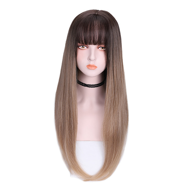 Synthetic Wig Straight With Bangs Wig Long Brown Purple Synthetic Hair 24 inch Women's Soft Cool Color Gradient Brown Purple