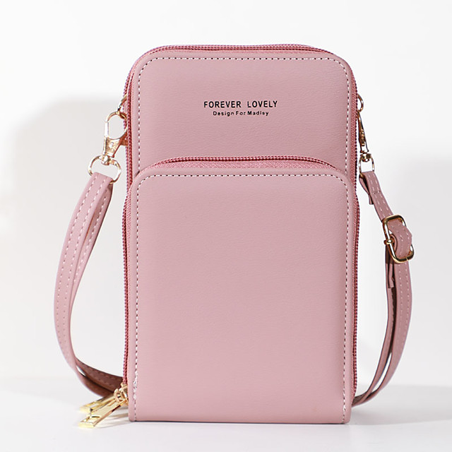 Women's Bags PU Leather Mobile Phone Bag Crossbody Bag Plain 2021 Daily Black Purple Red Blushing Pink