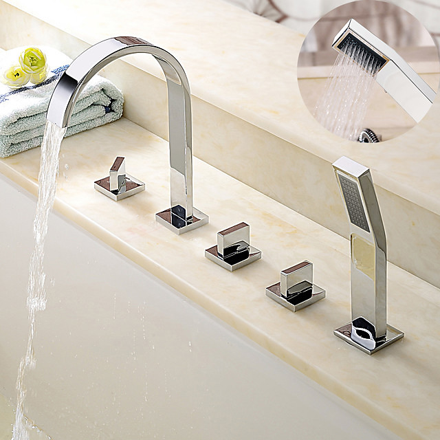 Chrome Bathtub Faucet Contemporary and Brass Faucet with Ceramic Valve/Handshower Bath Shower Mixer Taps  Adjustable   to Cold and Hot Water