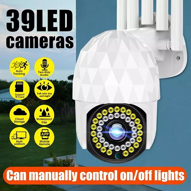 39 LED Wireless WiFi IP Camera HD 1080P Home Security Camera Outdoor Waterproof Night Shoot Built-in Mic Support Two-way Voice