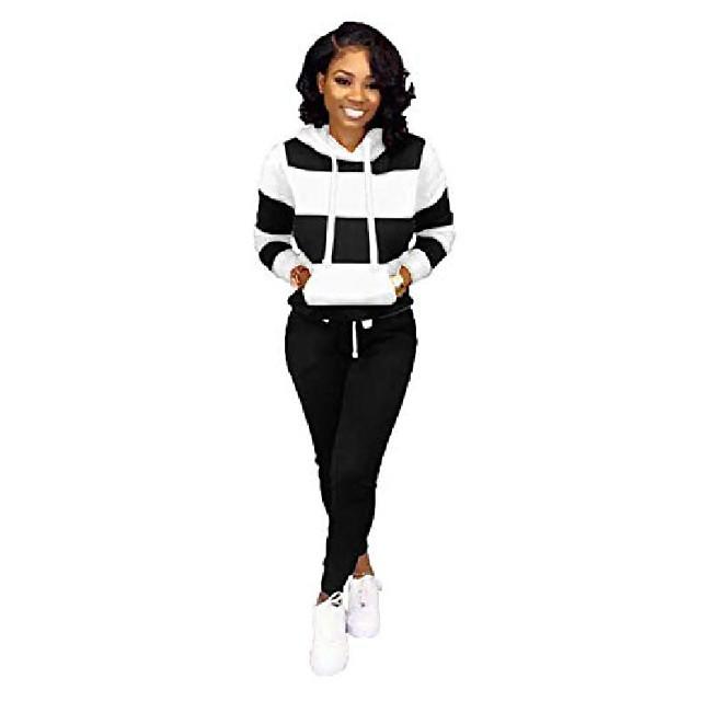 women 2 pieces stripe tracksuit set sweatshirt sportsuit hoodies top and jogger pants sportwear set black