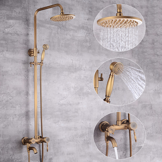 Shower System Set - Handshower Included pullout Waterfall Vintage Style / Country Antique Brass Mount Outside Ceramic Valve Bath Shower Mixer Taps