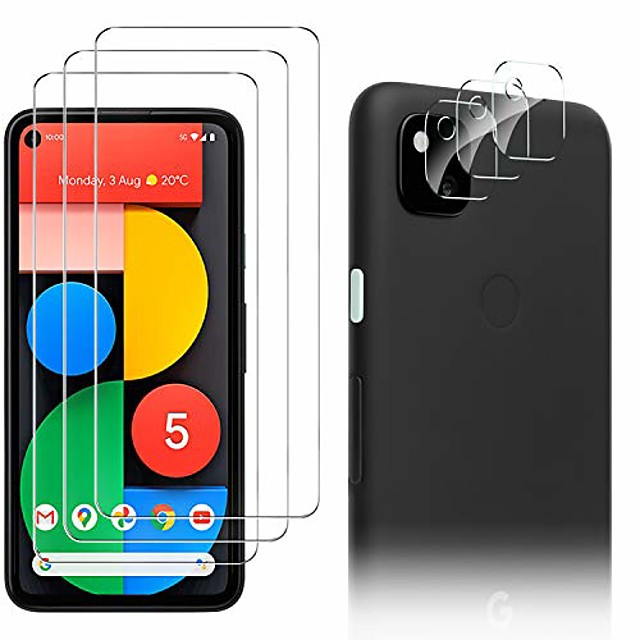 3-PCS TransparentScreen Protector+ 3-PCS Camera Lens Protector For Google Pixel 5 Pixel 4 XL Anti-Fingerprint Anti-Scratch Tempered Glass For Google Pixel 4a/ Pixel 4a 5G