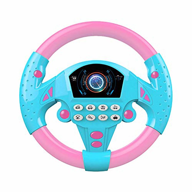 toy electronic steering wheel, driving simulator toy with lights & music, simulate sounds like fire trucks/ambulances/police cars, early education puzzle for kids boys girls baby (pink blue)