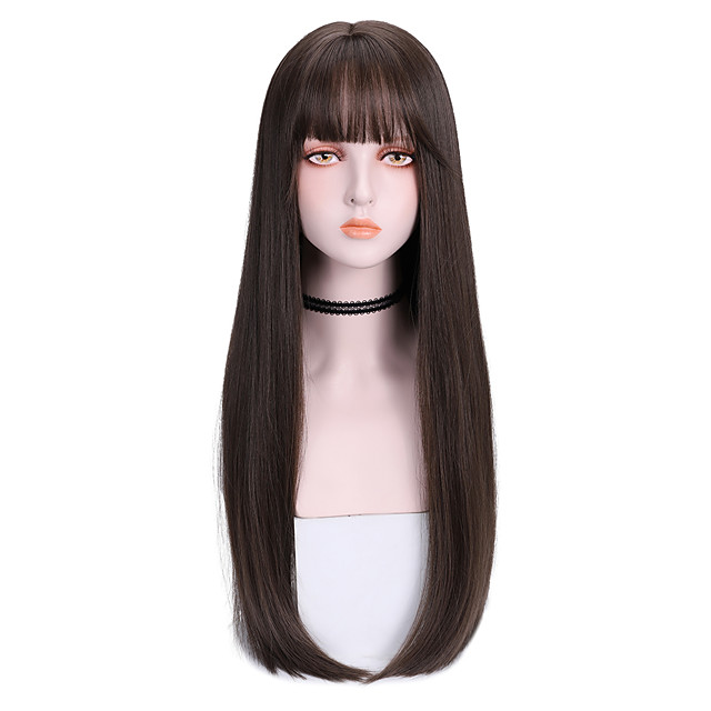 Synthetic Wig Straight With Bangs Wig Long Brown Synthetic Hair 26 inch Women's Soft Comfy Black