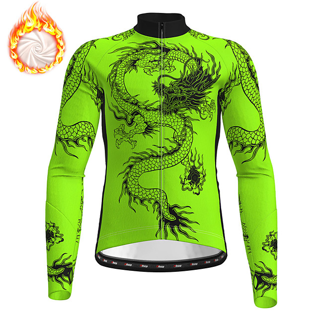 21Grams Men's Long Sleeve Cycling Jersey Winter Fleece Polyester Black Yellow Orange Dragon Bike Jersey Top Mountain Bike MTB Road Bike Cycling Fleece Lining Breathable Warm Sports Clothing Apparel