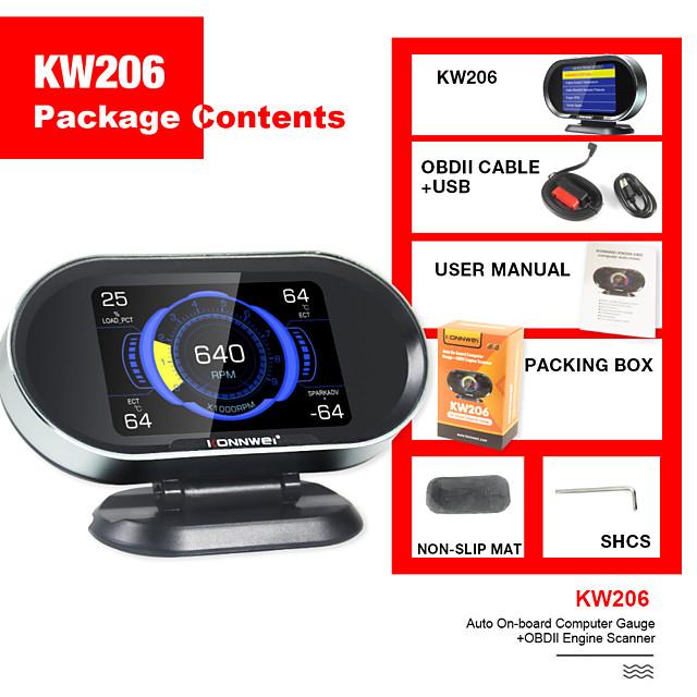 KONNWEI KW206 Hud Head-Up Display 12V Auto-Styling Hud Display Overspeed Speedometer Boost Gauge OBD2 Car Fault Scanner Code reader