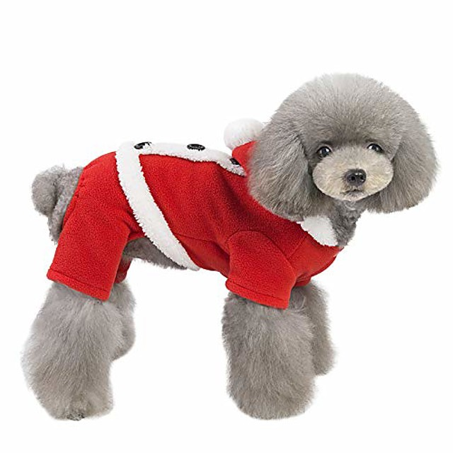 dog christmas cosumes winter warm plush pet hoodies sweatshirt christmas cosplay soft fleece thickening pet clothes for small medium dogs cats (l, red)