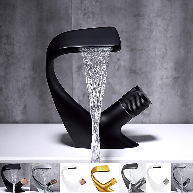 Single HandleBathroomFaucet,Chrome/Painted Finishes OneHoleWaterfall Bath Taps,Brass Irregular Bathroom Sink Faucet